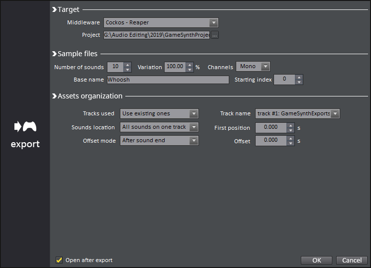 game synth export window