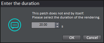 game synth loop duration dialogue box