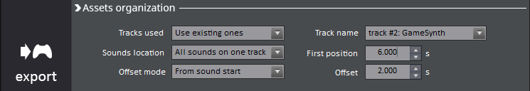 game synth export window with first position and offset set to match the items in reaper