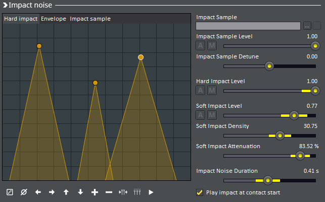 gamesynth impact noise screencapture of bank shaping and slider randomisation